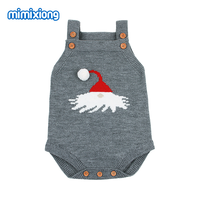 2018 Christmas Baby Funny Bodysuits Newborn Clothes Santa Claus Knitted Infantil Body Autumn Sleeveless Toddler Girl Boys Onesie