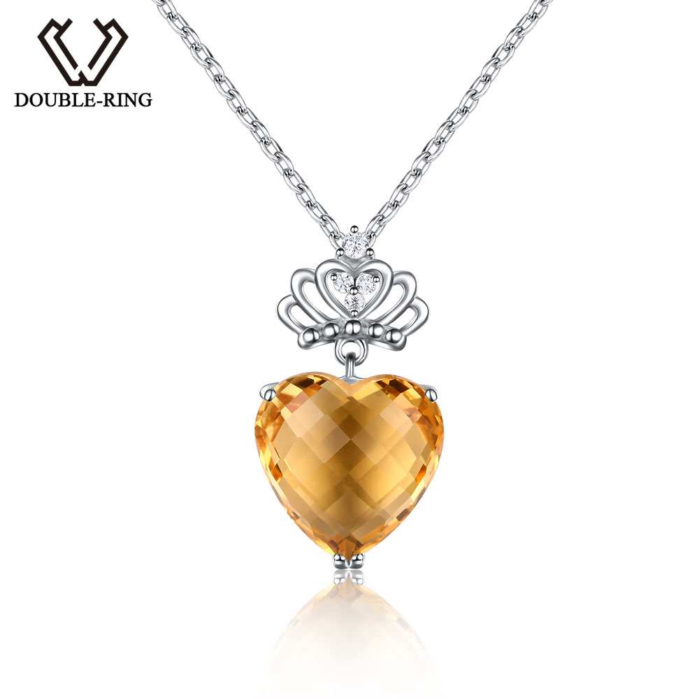 цена DOUBLE-R 5.75ct Genuine Natural Citrine Heart Pendant Real Solid 925 Sterling Silver Fine Wedding Jewelry for women
