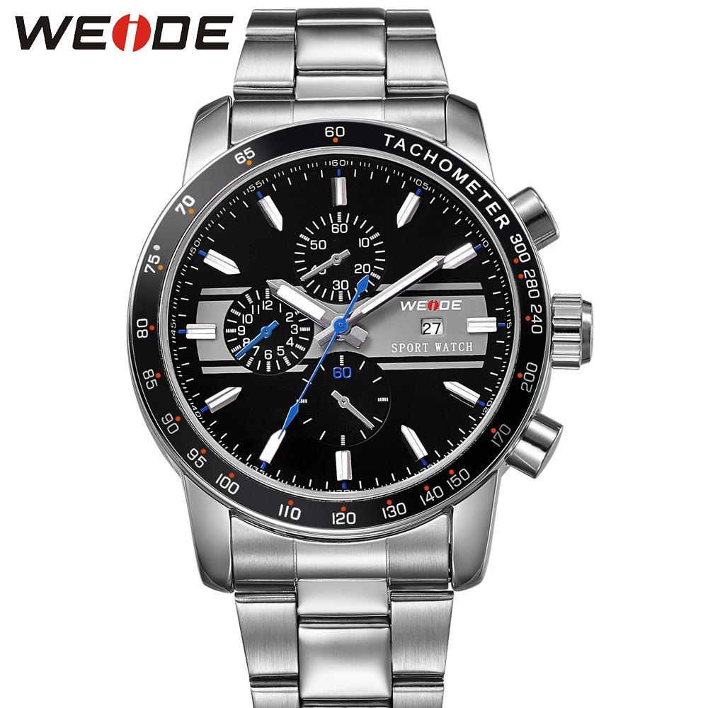 Fashion WEIDE Sport Watch Men Date Display Quartz Watch Full Steel Strap Man 30m Water Resistant Running Man Wristwatch Relogios цена