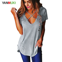 2017 Sexy Holes Cross Bandage V Neck Top Women T Shirt Summer Short Sleeve Solid Ripped