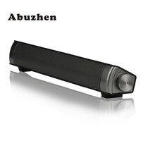 Abuzhen Mini Bluetooth Speaker Soundbar Slim Magnetic Stereo Sound Subwoofer Speaker HIFI Boombox Speaker For Computer