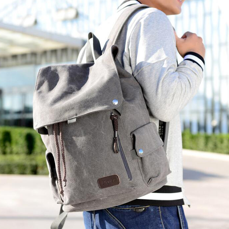 100Pcs/Lot  And Women's Backpack Vintage Canvas Backpack Male Travel Bags Large School Bags Leisure Mochila