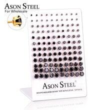 ASONSTEEL 60 çift/grup toptan temizle saplama küpe yuvarlak paslanmaz çelik hipoalerjenik küpe, boyutu 3 8mm (her boyutta 10 çift)
