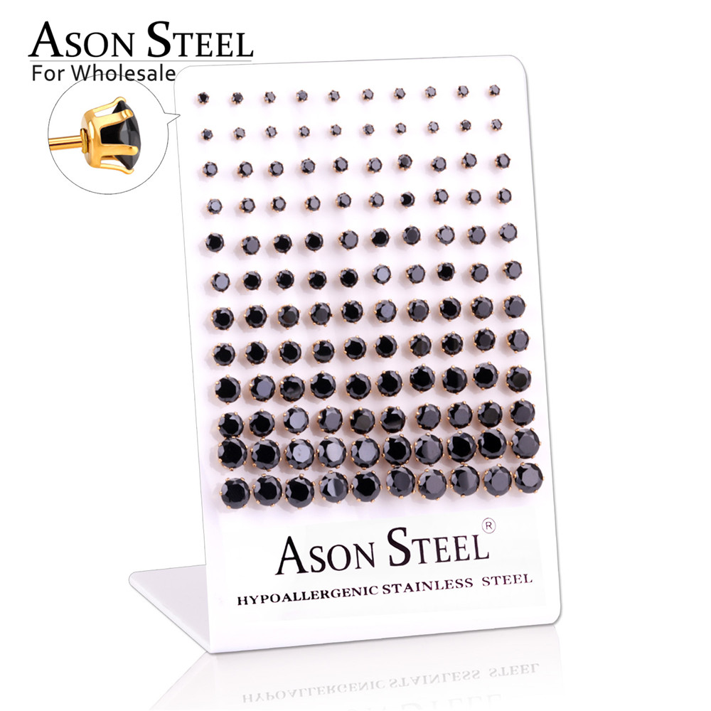 ASONSTEEL 60pairs/lot Wholesale Clear Stud Earrings Round Stainless Steel Hypoallergenic Earring,Size 3-8mm(Each size 10pairs)