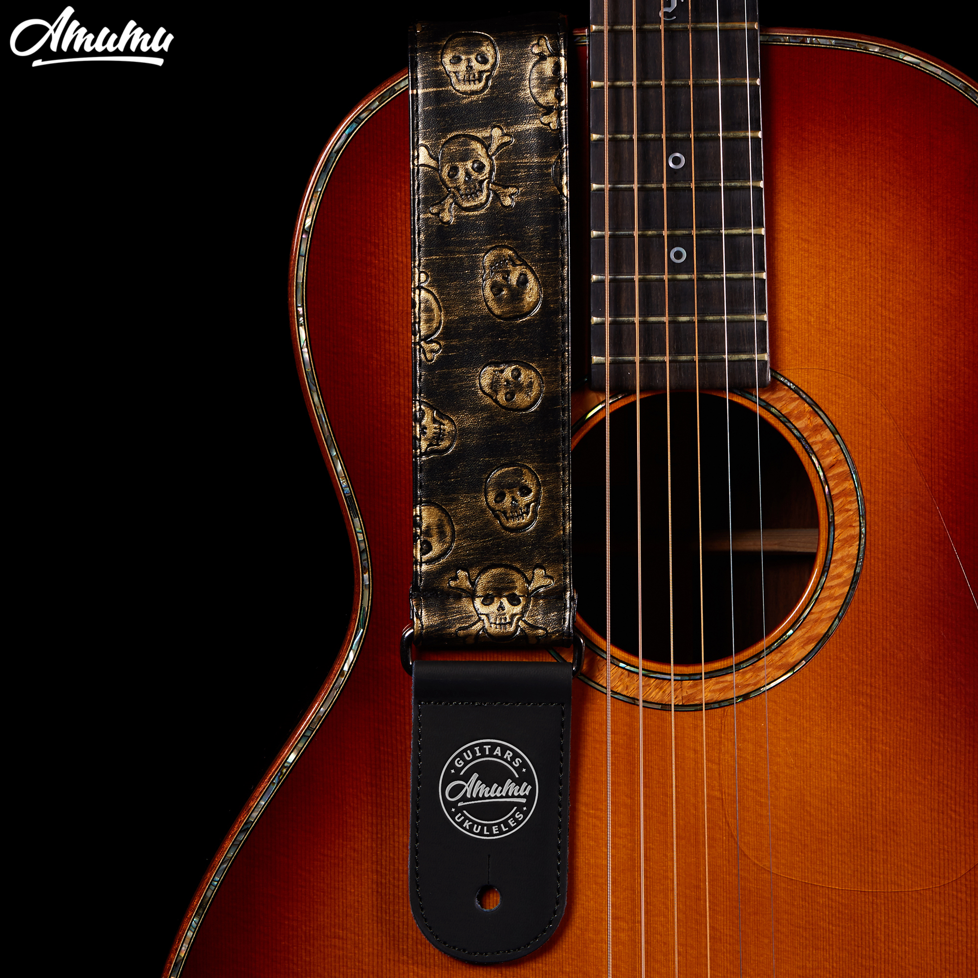 Amumu Bronze PU Leather Guitar Straps Emboss Skull Pattern 5cm Width for Folk Acoustic Electric Guitar 93-163cm Length S532-1