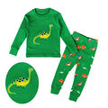 Baby Boy Girl Dinosaur Clothes Pyjamas Set Kid Nightwear Sleepwear Homewear Green Color 2-7T