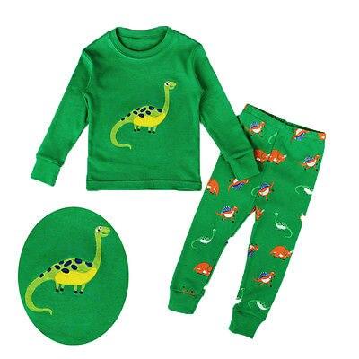 49191a3ecf4d Bambino Ragazzo Ragazza Vestiti di Dinosauro Pigiama Set Kid Sleepwear  Homewear Colore Verde 2-7