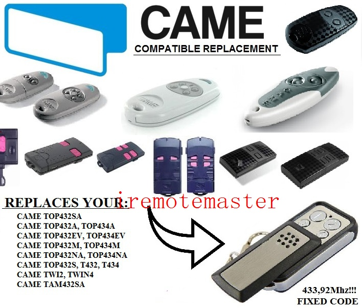 CAME TOP432NA,TOP434NA,TOP432A,TOP434A,TOP432SA,TWIN2,TAM432SA replacement remote control free shipping