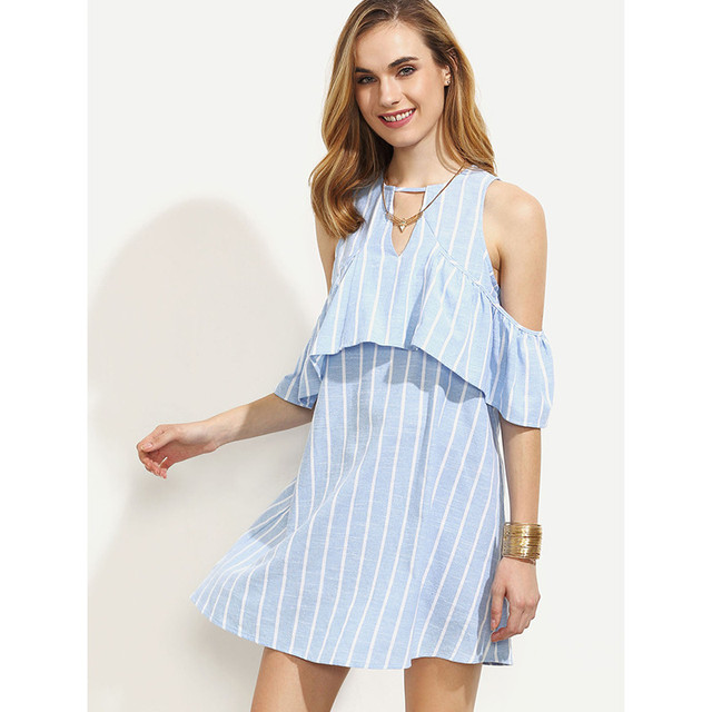 aeadbea36b46 Customize Women Summer Plus Size Dress Blue Short Straight Striped Dress  Sleeveless Ruffles Off Shoulder Beach Loose Dresses