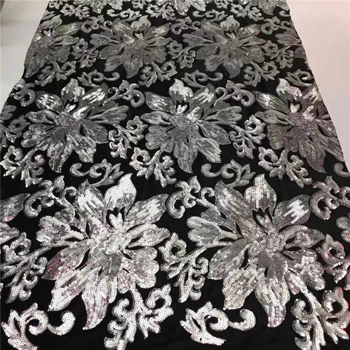 Горячая блестки бархатная французская сетка кружева, высокое качество Нигерийский Африканский тюль сетка кружевная ткань для вечеринки платье 5 ярдов/партия Черный Серебряный