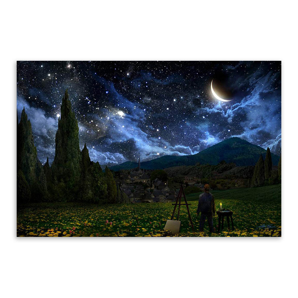 Rural Starry Night Landscape Artist Van Gogh A4 Large