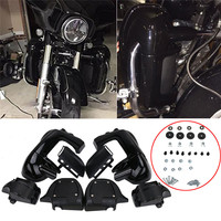 New Painted Glossy Black Lower Vented Leg Fairings Glove Box For Harley Electra Road Street Glide