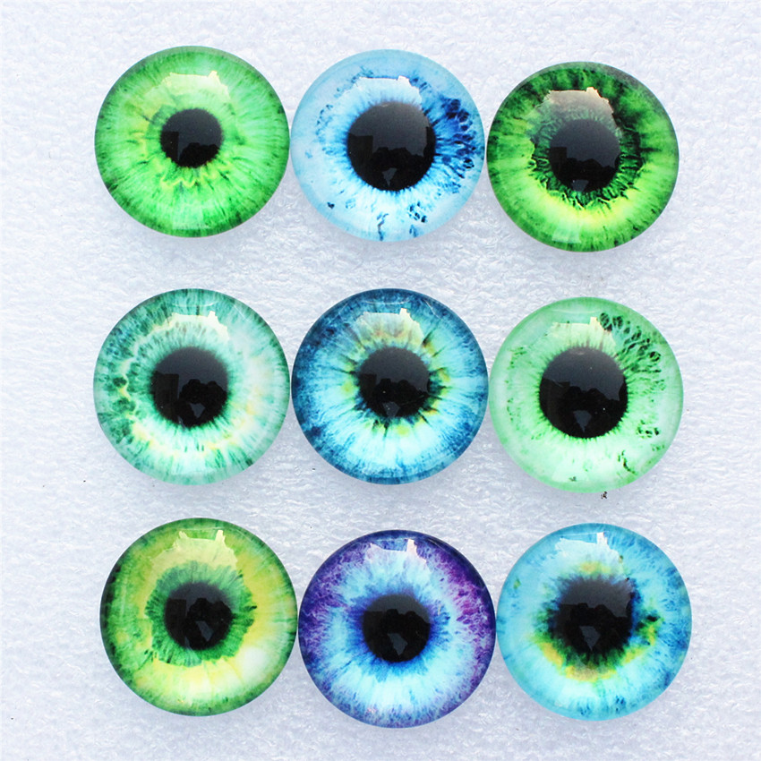 10mm Random Mixed Dragon Eyes Round Glass Cabochon Flatback Photo Dome Jewelry DIY Accessories Fot Base Tray 50pcs/lot K06087