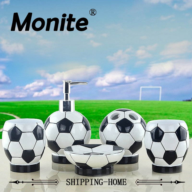 Football/Soccer Special Bathroom Set Soap Dish Dispenser Tumbler Tooth Brash Holder Rinse Cup 5PCS Household Hotel Accessories