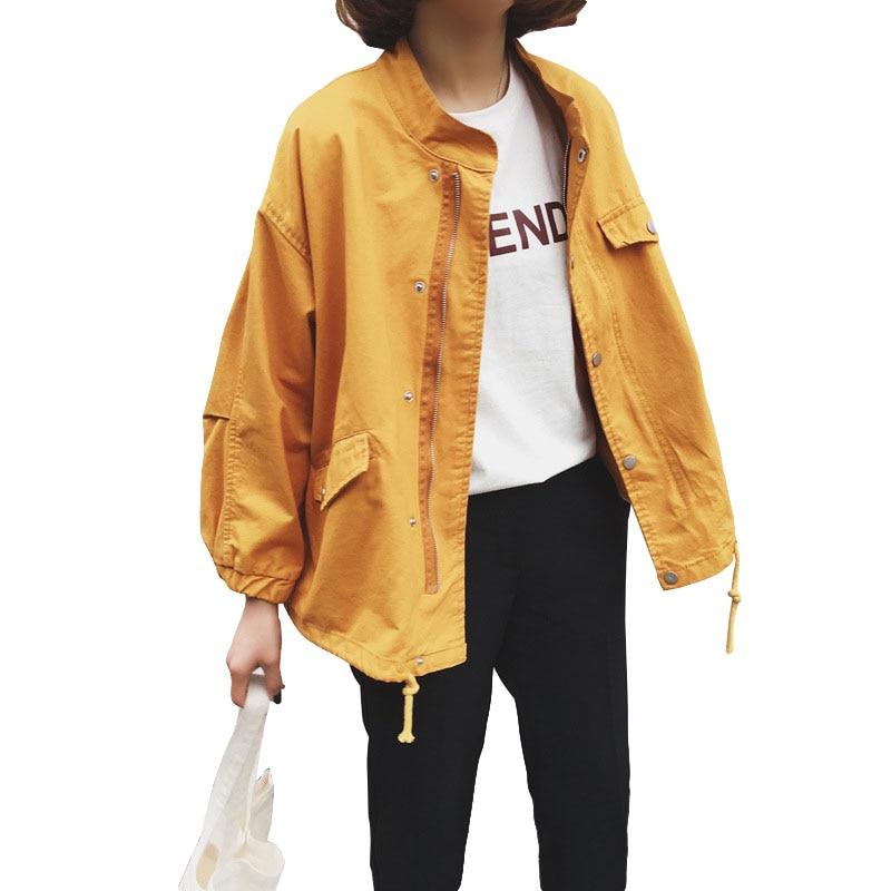 2019 Korean New Harajuku   Jacket   Women Loose Stand Baseball   Jacket     Basic   Coats Spring Casual Women's Windbreaker Female   Jackets