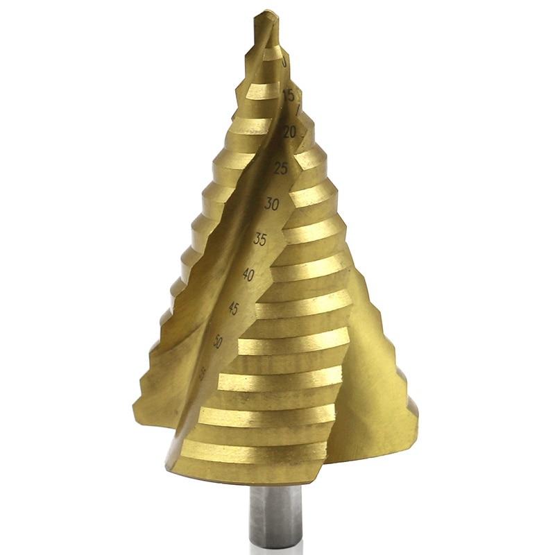 6-65 Mm The Pagoda Shape Hss Triple-cornered Shank Spiral Pagoda Metal Steel Step Drill Bit Hole Drill Cone Drill