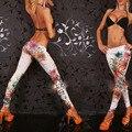Moda Feminina Leggings Sólidos Baixo Crescimento Florido Legging W9135 Estilo Punk Clube Jeggings Meninas Do Vintage Top de Vendas