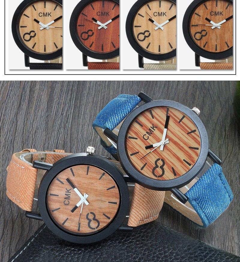 Fashion Luxury Men Women Simple Casual Leather Wood Grain Watch 10