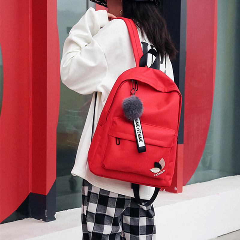 Fashion Fur Ball Girl Backpack For Women 2018 Teenage Schoolbag College Wind High School Student Nylon Printing Back Pack Bag