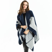 Duftgold Grey Striped Scarf Viscose Infinity Cashmere Blanket Scarf Brand Capes Wraps Pashmina Tippet Scarf Winter Shawl