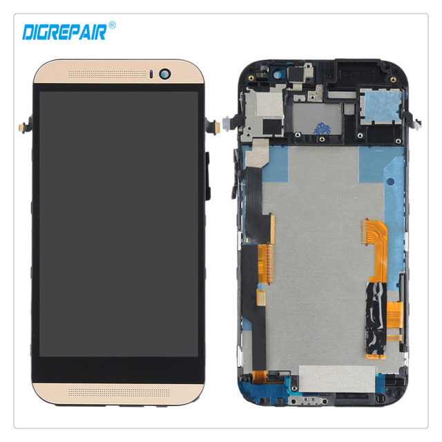 New High Quality Gold For HTC One M8 Smartphone LCD Display Touch Screen Digitizer Assembly Repair Replacement Parts+Bezel Frame