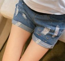 Spring and summer maternity clothes Korean Maternity Pants graffiti hole abdominal denim shorts SH-6020