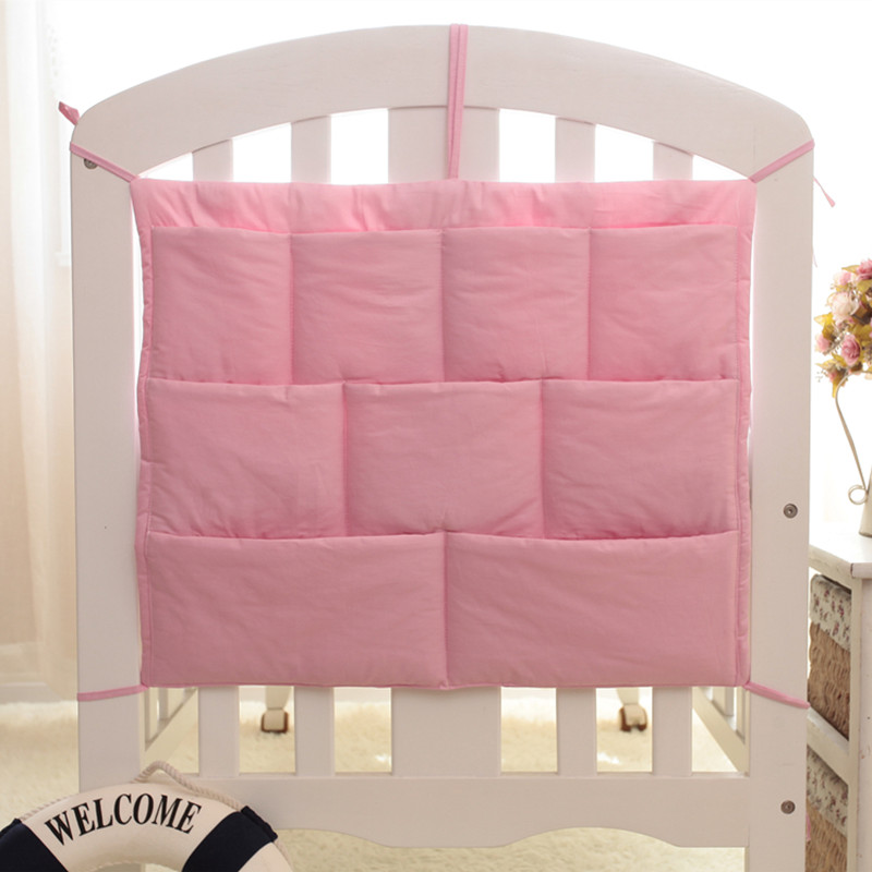 48*58cm Crib Baby Bed Bumper Hanging Storage Bag Multi-functional Muslin Baby Cot Pocket Hanging Storage Bag Baby Bedding Bumper