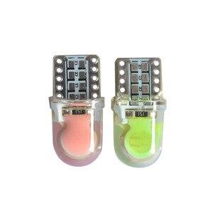 Image 2 - 100X 高輝度 T10 cob led 40MA シリコーンケース計器ライトナンバープレート電球ウェッジランプカースタイリング led 12 v 白 7 色