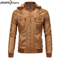 Leather Jacket Men New Arrival Men's Leather Jacket Top Quality Men Sheepskin hooded leather Zipper Design Jackets