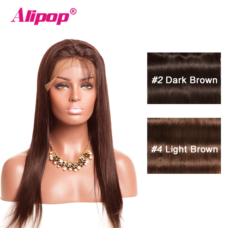 360 Lace Frontal Closure Preplucked With Baby Hair #4 Light brown PreColored Brazilian Straight Hair Non Remy Human Hair ALIPOP