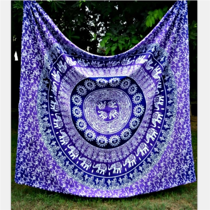 Round Purple Small Elephant Tapestry Indian Mandala Hippie Wall Hanging Tapestries Beach Towel Yoga Mats Bedspreads Table Cloth Сумка