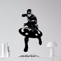 SUPERHERO Captain America Movie Poster Avengers WALL ART STICKER VINYL DECAL NURSERY CHILDREN KID ROOM STENCIL