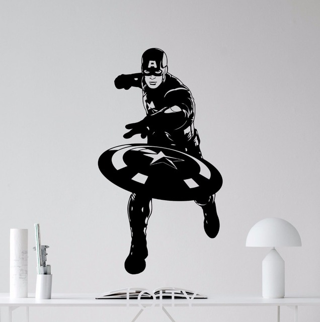 Captain America Wall Art superhero captain america movie poster avengers wall art sticker