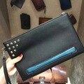 TERSE_New стиль мода заклепки человек женщины сцепления сумка ручной работы кожаный конверт клатч запястье петля vintage гравировальные услуги