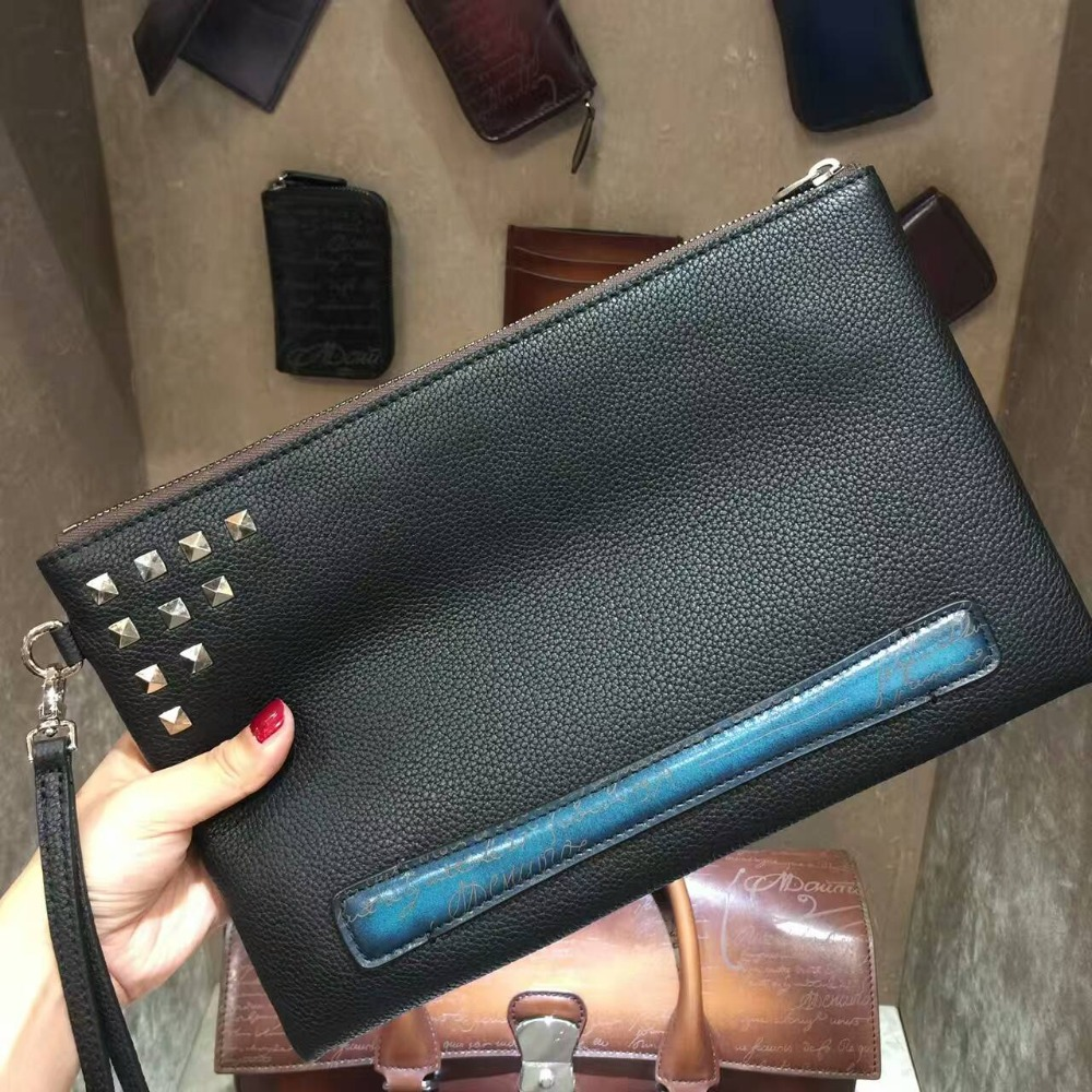 TERSE_New style fashion rivet man women clutch bag handmade leather envelope clutch bag wrist loop vintage engraving service