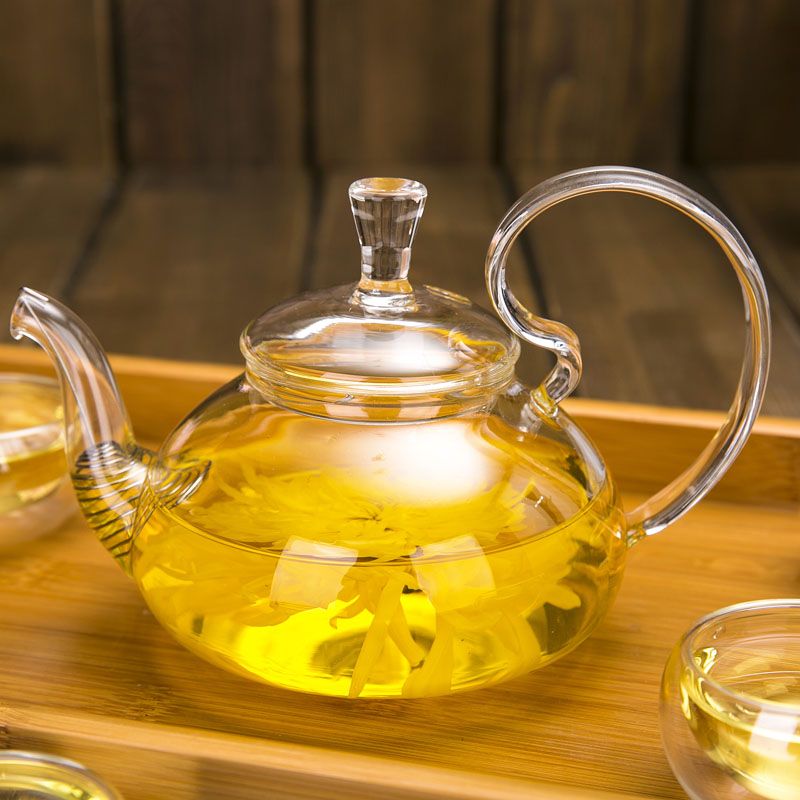 Free shipping glass tea pot, Heat Resistant With High Handle Flower - Kitchen, Dining and Bar