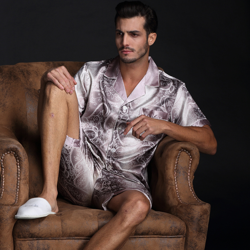 Thoshine Brand Spring Summer Autumn Men Satin Silk Pyjamas Sets Of T-shirt & Shorts Male Pijama Sleepwear Leisure Home Clothing
