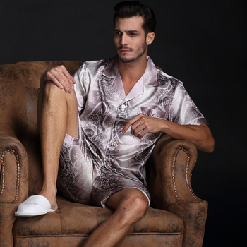 Thoshine Brand Spring Summer Autumn Men Satin Silk Pyjamas Sets of T-shirt & Shorts Male Pijama Sleepwear Leisure Home Clothing 2