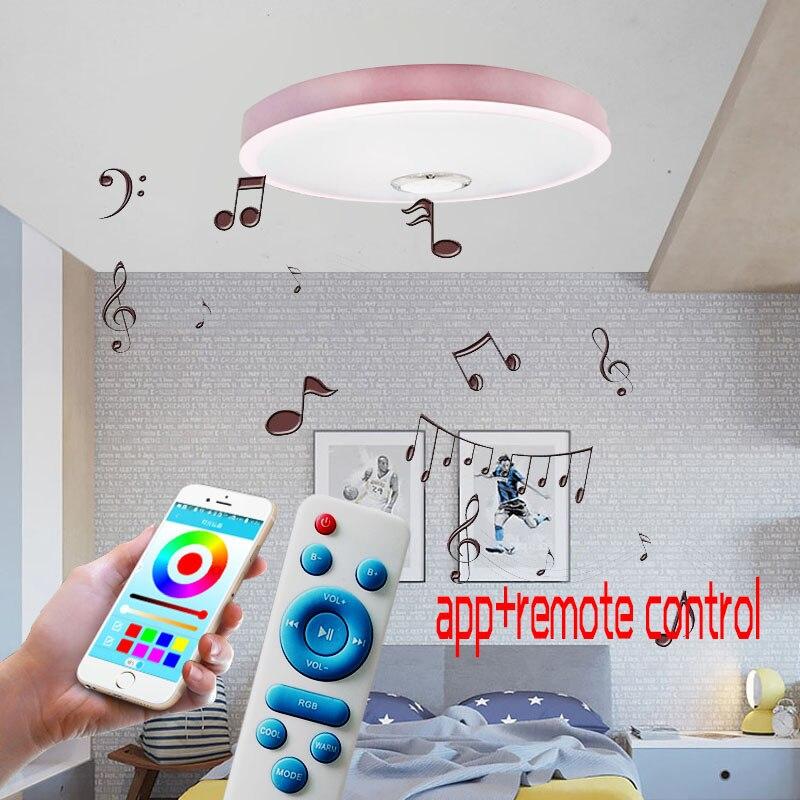 RGB możliwość przyciemniania nowoczesne Ultra cienkie doprowadziły lampy sufitowe pilot zdalnego sterowania + APP Bluetooth oświetlenie do zastosowań muzycznych sypialnia u nas państwo lampy inteligentne oświetlenie sufitowe u nas państwo lampy