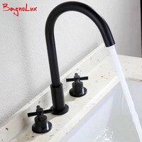 Bagnolux 100% Solid Brass Newest Simple Design Deck Mount Widespread Faucet Matt Black Bathroom Double Cross Handle Basin Tap