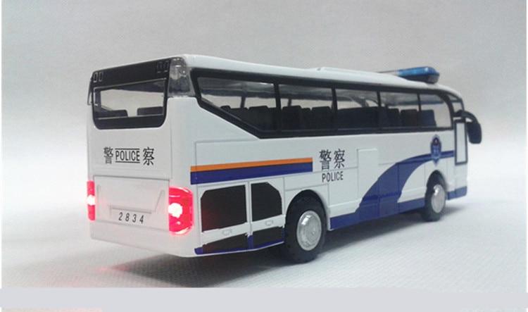 Alloy ljus stor polisbuss dörren leksak bil modell voiture juguete - Bilar och fordon - Foto 4