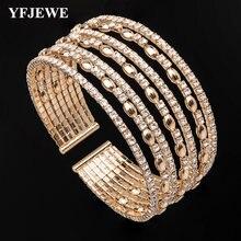 Yfjewe женский винтажный многослойный Кристальный браслет модные