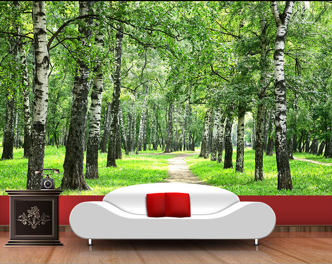 Custom Nature Wall Murals, Green Forest Landscape Used In The Bedroom TV KTV Wall Waterproof Vinyl Papel DE Parede