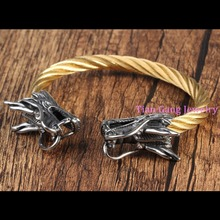 Hot Sale Fashion Jewelry Cool Men Bracelets Delicate Stainless Steel Chinese Dragon Rock Vintage Style Gold Link Chain Bangle