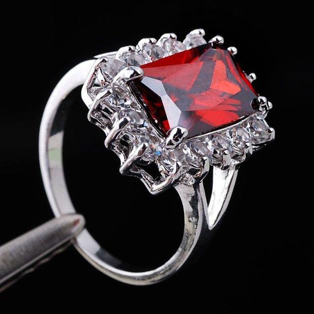 30pcs Emerald Cut Red Garnet Crystal Lady Fashion Silver-tone Ring Size 7 18KT GF Wholesale J0314