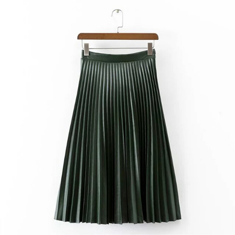 Aliexpress.com : Buy Women Vintage Accordion Pleated Leather Skirt ...