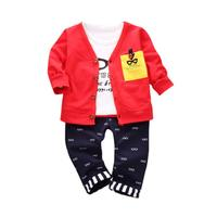 MUQGEW Kids Hip Hop Clothing Outfits Print T Shirt Tops Pants Coat Cardigan Clothes Set Baby