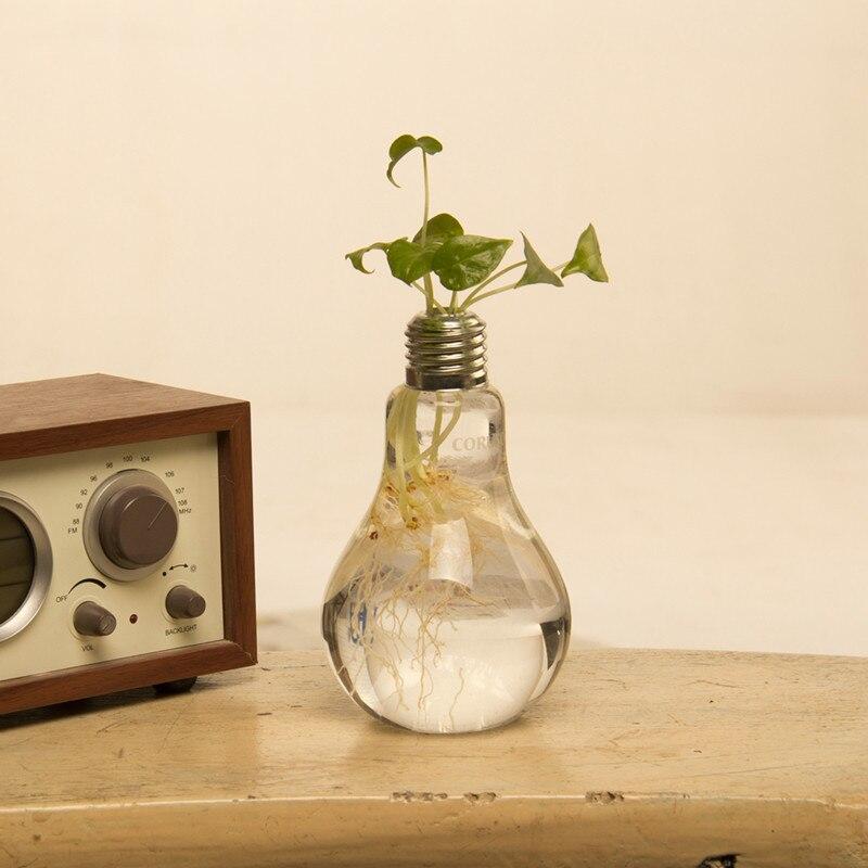 Creative Table Vases Light Bulb Shape Clear Glass Flower Vase Crafts
