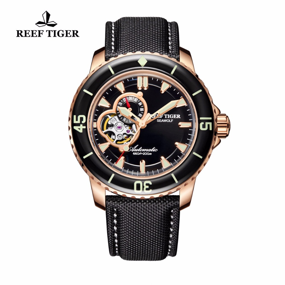 Reef Tiger/RT Automatic Sport Watches for Men Nylon Strap Rose Gold-Tone Super Luminous Dive Watch RGA3039 reef tiger rt top brand automatic watches enjoy your live style dive watch luminous nylon leather rubber watches rga90s7