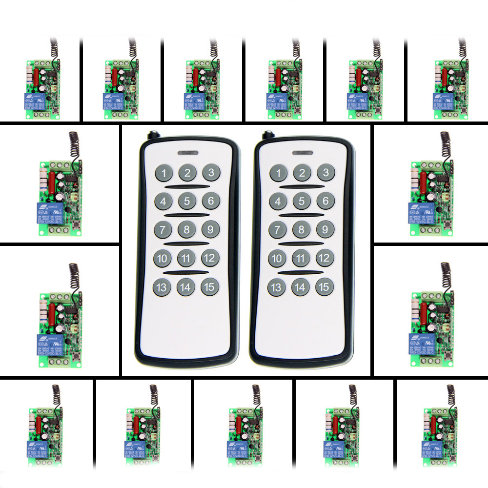 AC 220V 110V 1 CH 1CH RF Wireless Remote Control Switch System,(15CH Transmitter +15 Receiver),Toggle/Momentary,315/433.92 new ac 220v 30a relay 1 ch rf wireless remote control switch system toggle momentary latched 315 433mhz